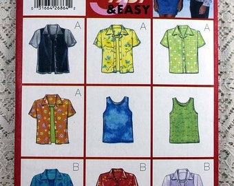 ON SALE Butterick 5840, Misses' Shirt and Tank Top Sewing Pattern, Easy Sewing Pattern, Misses' Size 12, 14, 16, Uncut