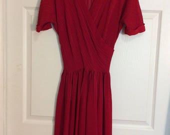 Vintage 40s Dress Dark Red Fashion Frock S XS 24 Waist 34 Bust