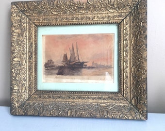 Old Original Ship Paining - listed artist