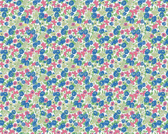 PRE-ORDER - Mae Flowers Fabric by Lindsay Wilkes from The Cottage Mama for Riley Blake Designs and Penny Rose Fabrics - Blue Tiny Floral