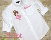 Dance Recital Cover Up Oversized Monogram Buttom Up Shirt - Ballerina - Dance Revue Review Gift Pointe Shoes Slippers Over Sized Wedding