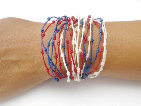 Knotted Multi Strand Red White Blue Handmade Bracelet Thai Wristband