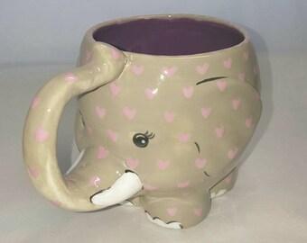 MUG, Hand Painted Mug, Elephant mug, Ceramic mug,Whimsical Mug,Coffee Mug,Tea Mug, Hot chocolate Mug,Cocoa Mug,Large Mug,Unique Mug,Elephant