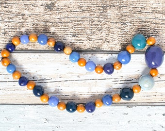 Fair Trade Blue Necklace - Big Bead Purple Necklace - Purple Bead African Necklace - Blue Bead Wood Necklace - Kazuri Bead Boho Necklace
