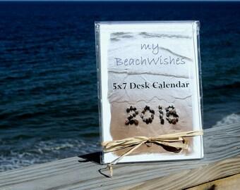 Beach Theme 2018 Calendar- 5x7 desk calendar with acrylic frame, Beach Photo Calendar, inspiring beach words, monthly calendar, teacher gift