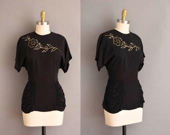 vintage 1940s blouse. 40s black rayon sequin blouse