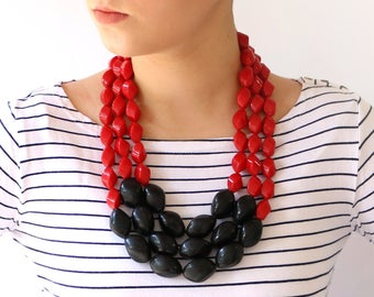 Red multi strand necklace, Bold statement Necklace, Handmade Beaded necklace, Layered Neckalce, unique women's jewelry