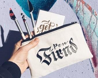 Handmade Folded Calligraphy Pop Can Pen - Pen Fiend Pen Case