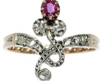 Victorian ruby ring 18k rose gold silver rose cut diamonds antique ring