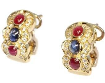 Italian earrings, vintage earrings, ruby earrings, sapphire earrings, blue sapphire, drop earrings, earrings stone precious, earrings stones