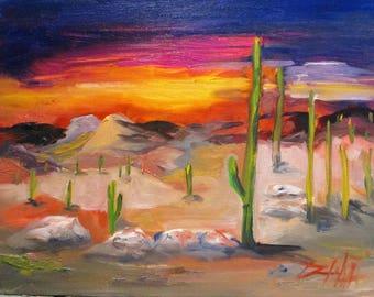 Southwestern Landscape oil painting 11x14 Art by Delilah