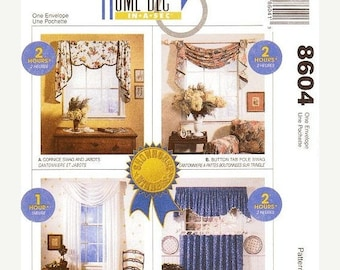 On Sale Mccall S Home Decor Pattern 8604 Window Treatments Cornice Swag Jabots