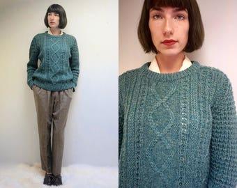 Cable Knit Sweater IRISH SWEATER Wool Sweater Fishermans Sweater Aran Knit Sweater Chunky Knit Sweater Green Sweater Fisherman Jumper