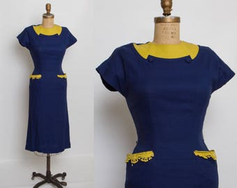 vintage 1940s navy and yellow dress