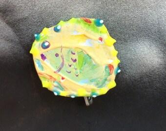 Weird Little Fish, Fish Pin, Aquarium Fish Pin, Fish Pin, Yellow Fish Pin, Green  Repurposed Bottle Cap Pin OOAK:  Fish - shipping included