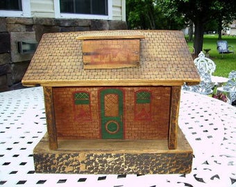 Antique Early 1900's Converse Dollhouse, Antique Wooden Doll House/Bungalow Dollhouse