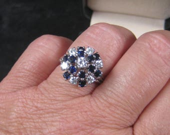 Dress Up Your Finger fabulous 14K White Gold Sapphire Cluster Ring Size 7.25 1960s