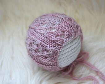 Knitting Pattern, Knit PDF Pattern,  Newborn Hat Pattern, PHOTO shoot prop,  Knit, Tutorial, PDF, Newborn hat, Elise Bonnet