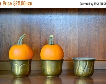 CIJ SALE 25% OFF vintage brass planter containers / boho planters / rustic home / mid century home decor