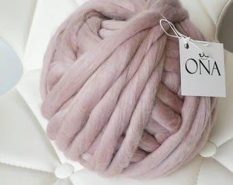 Super bulky Dusty Pink Chunky jumbo yarn 500g xxl wool giant merino wool yarn hand spun chunky knitting UK seller