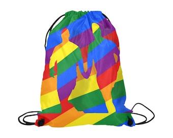 Love is Love! Drawstring Bag | Bright Rainbow Print | LGBTIQ Pride | Lightweight | Swim Sport School Shopping | Show Your Support!