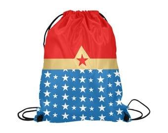 Wonder Woman Drawstring Bag | Bold Graphic Art Print | Lightweight | Swim Sport School Shopping | Bright Background | Marvel Super Hero