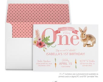 Some Bunny, Turning One, 1st Birthday, Party Invitation, Easter Bunny, Watercolor Rabbit, Spring Birthday, Printable Digital, Printed Invite