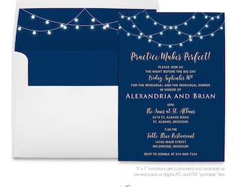 Night Before, The Big Day, Practice, Makes Perfect, Rehearsal Dinner, Party Invitation, String of Lights, Printable Digital, Printed Invites