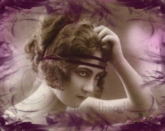 Anastasia Altered Repro Photo Print 5x7 Burlesque Flapper Girl Altered Reproduction Photo Prints  ALTEREDHEAD ON ETSY Purple Boho Photo