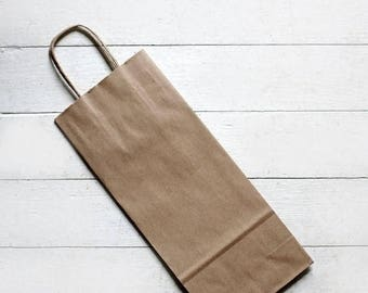 ON SALE Sample set of 3- Recycled Kraft Handle Bags (Fits Wine Bottle) 5-1/2 x 3-1/4 x 13  inches | Rustic Wedding Favor Bags, Candy Bags, W
