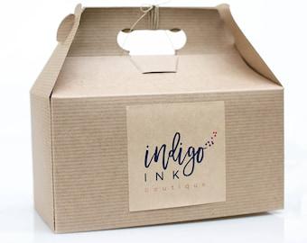 9.5 x 9 x 5  Kraft Natural Gable Gift Box lot of 18 w/ pinstripe texture
