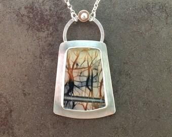 Picasso Jasper Cabochon Sterling Silver Nature Necklace Pendant