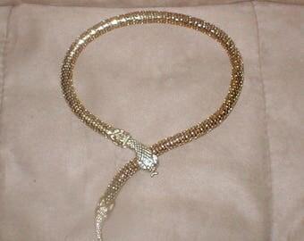 Vintage Whiting & Davis gold metal mesh SNAKE Necklace