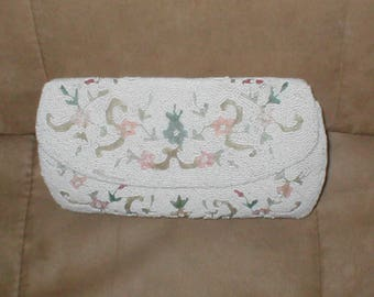 Vintage White Beaded Evening Purse with Pastel Embroidery by Jorelle