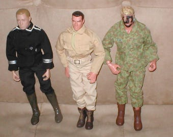 "lot of THREE (3) Vintage Hasbro G I Joe  12"" Action Figures"