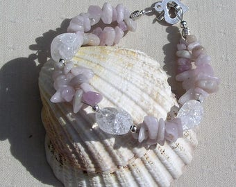 "Kunzite & Crackled Clear Quartz Crystal Gemstone Bracelet ""Heather Dew"", Quartz Bracelet, Chakra Bracelet, Kunzite Bracelet, Spiritual"