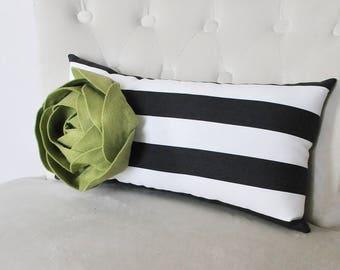 Green Pillow - Sage Green Peony Flower Pillow Cover, Green Pillow Covers, Stripes Pillow, Floral Decor, Canopy Stripe Decor, Stripe Decor