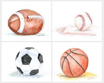 Watercolor Sports Art Prints Nursery Childrens Room Set of 4 Football Baseball Soccer Ball and Basketball LANDSCAPE Orientation