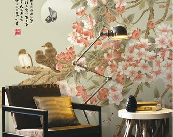 "Oriental Begonia & Birds Wallpaper Green Pink Blossoms Wall Mural 129.5"" x 93.7"""