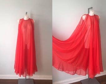 Vintage Red Chiffon Nightgown, Amira, 1970s Red Chiffon Nightgown, Vintage Chiffon Nightgown, Vintage Nightgown, Romantic