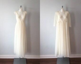 Vintage Ivory Chiffon Peignoir Set, Lov Lee, 1970s Peignoir Set, Chiffon Peignoir Set, Vintage Peignoir, Vintage Lingerie, Nightgown Robe