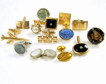 Single Cufflinks Mixed LOT Vintage Cuff Links Jewelry Collection Gold Silver Tone Cufflink Glass Rhinestone Pearl MOP Singles Crafts 925