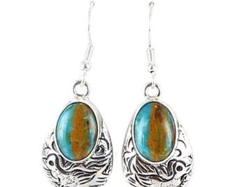 Summer Sale : ) Peruvian Opal Sterling Earrings Etched Ovals