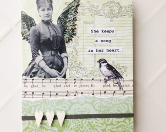 Handmade Card - A Song in Her Heart - collage - vintage music, bird, angel wings-- friendship, birthday, thank you, caring