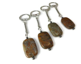 Polished Grey and Brown Stone Keychain Mosaic Design, Unisex Silver Chain Keychain Smooth Stone, Silver Snake Chain and Stone Accessories