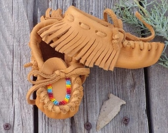 ON SALE Baby moccasins ,  fringed beaded baby moccasins, rainbow beadwork , size 4 baby ,  leather moccasins ,