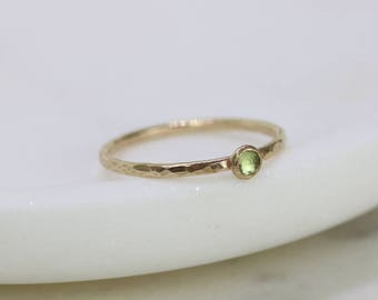 Tiny peridot ring gold, August birthstone ring, 9ct gold stacking ring, petite gemstone ring, August birthday gift - Juliet