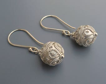 Simple Silver Earrings, Bali Silver Earrings, Silver Drop Earrings,Dangle Earrings,Bright Silver,Silver Ball Earrings, Holiday Gifts For Her