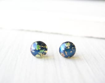 Tiny Post Earrings, Nickel Free Jewelry, Small Studs, Navy Blue, Indigo, Vintage Foil Glass, Titanium, Minimalist, Dainty, Petite