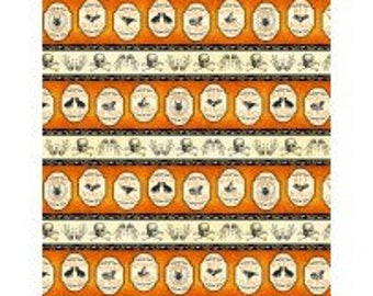Under a Spell from Wilmington Prints - Full or Half Yard Halloween Stripe - Skulls, Apothecary Labels